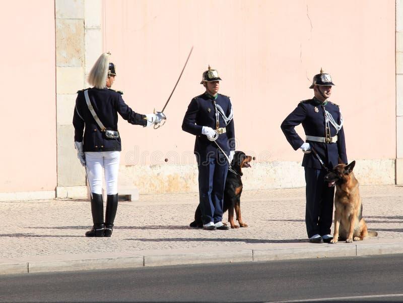 Cambio de la ceremonia del protector en Lisboa, Portugal foto de archivo libre de regalías