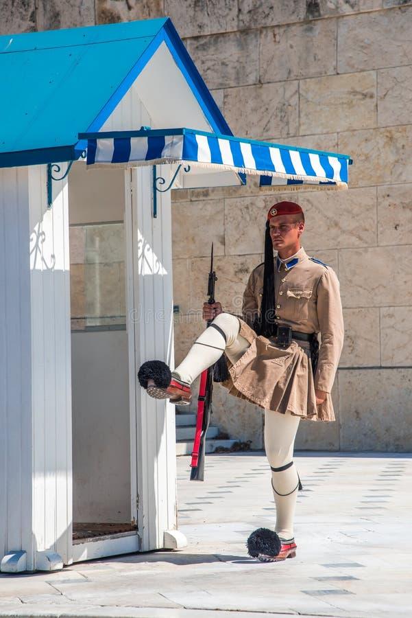 Cambio de la ceremonia de los guardias en Atenas, Grecia fotos de archivo libres de regalías