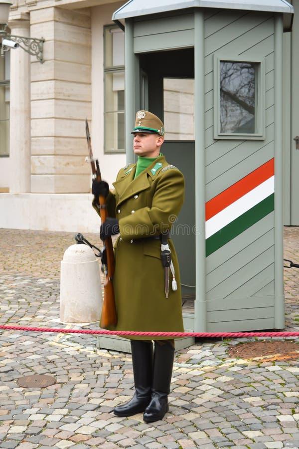 Cambio de la infantería ceremonial de la élite cerca de Buda Castle en Budapest foto de archivo