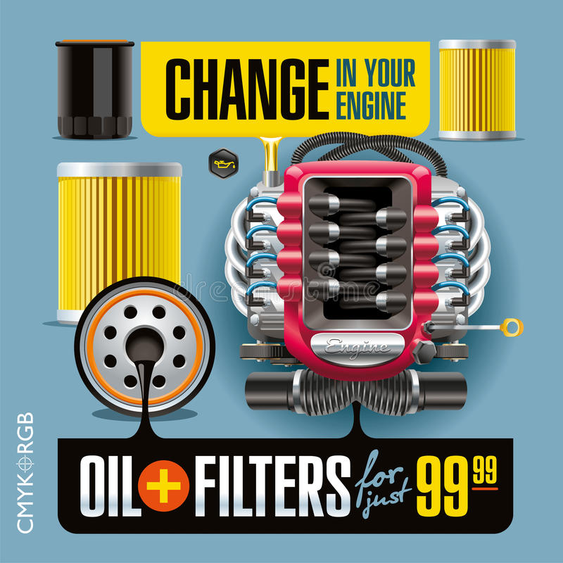 Cambio del aceite y de los filtros ilustración del vector