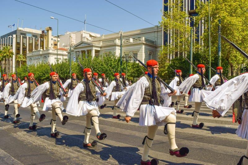 Cambio del desfile del guardia en Atenas fotografía de archivo