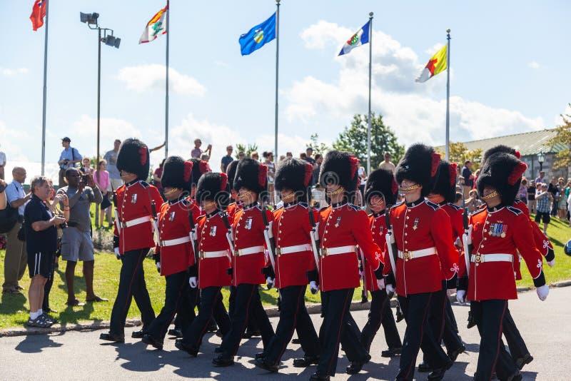 Cambio del guardia Ceremony en Citadelle en viejo Quebec imágenes de archivo libres de regalías