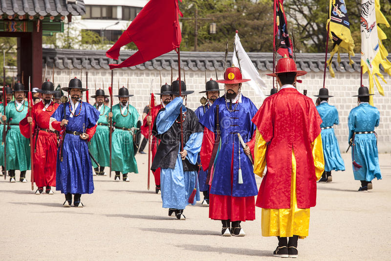 Cambio del guardia en Corea imagenes de archivo