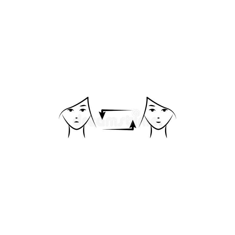 Cambio del humor, icono exhausto de la mano de la mujer Uno de los iconos de la salud de las mujeres para las páginas web, diseño stock de ilustración