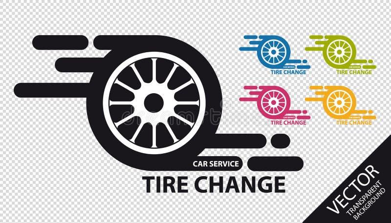 Cambio del neumático del icono del servicio del coche - ejemplo colorido del vector - aislado en fondo transparente stock de ilustración