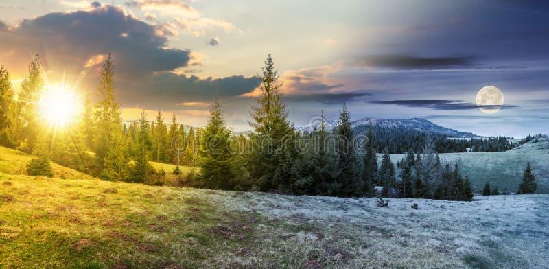 Cambio del tiempo en campo montañoso en primavera fotografía de archivo