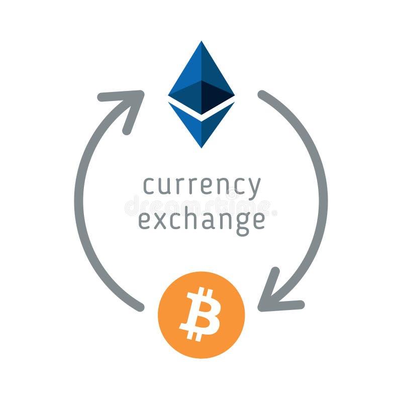 Cambio di ethereum e di Bitcoin illustrazione di stock