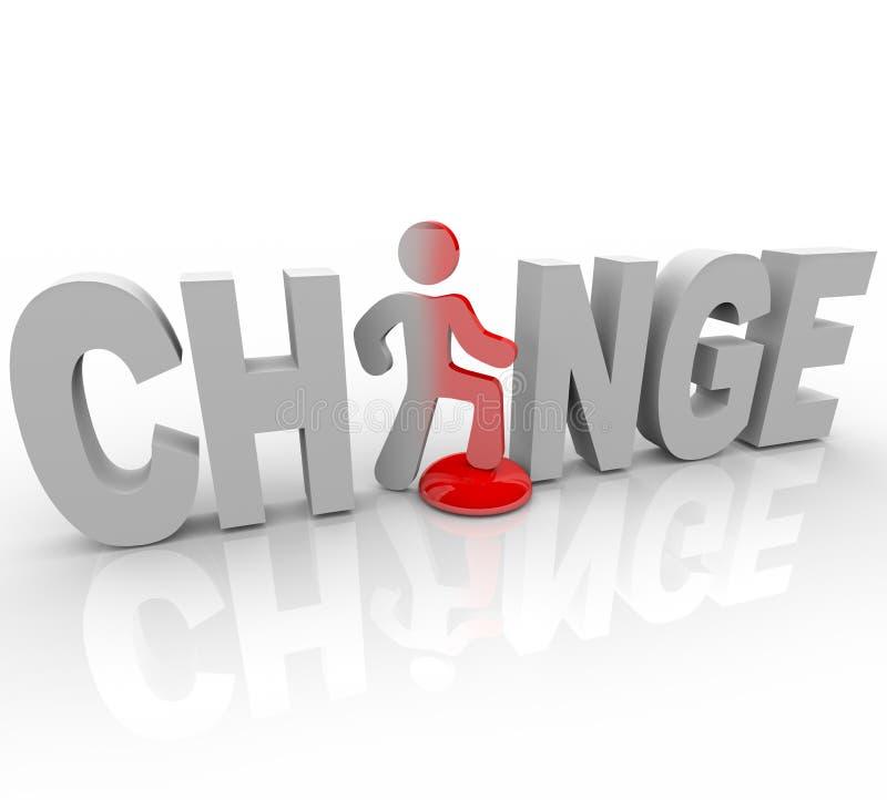 Cambio - hombre en pasos de progresión de la palabra en el botón libre illustration