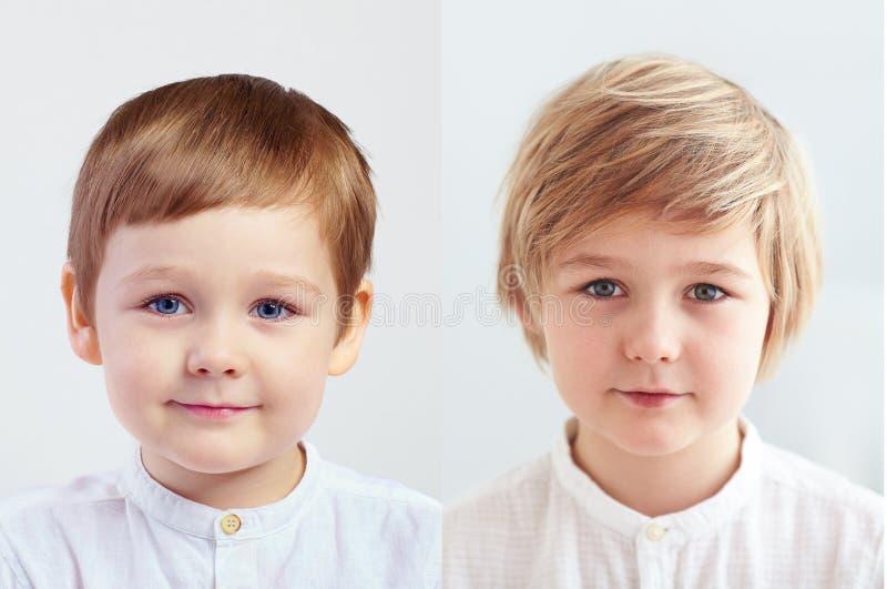 Cambios en aspecto del muchacho caucásico lindo en cuatro y nueve años foto de archivo libre de regalías