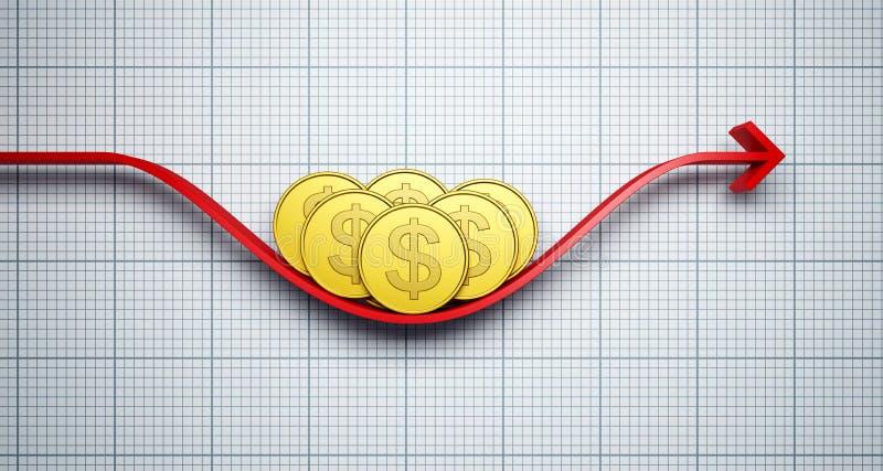 Cambios en la tarifa de cambio del Dólar stock de ilustración
