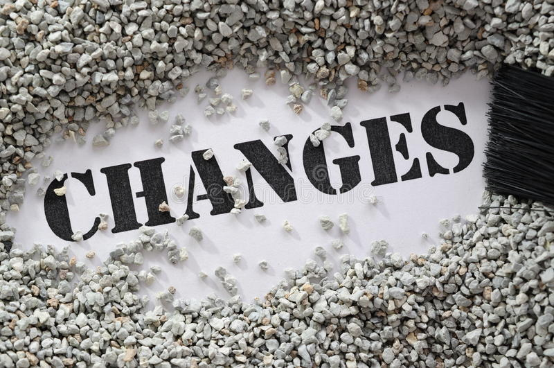 Cambios -- serie de la palabra del tesoro imagenes de archivo