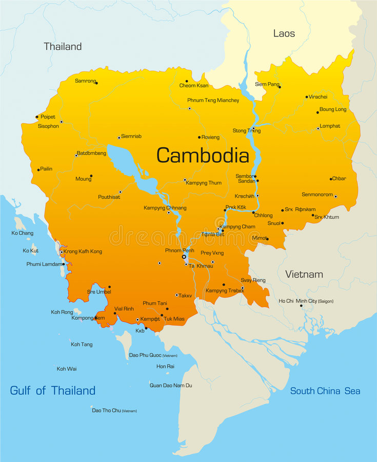 Cambodia. Vector map of Cambodia country