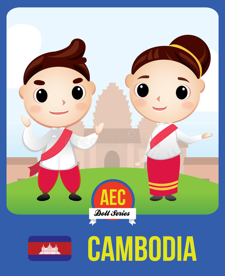 Cambodia AEC doll. The cute couple doll a symbol of Cambodia country member of Asean (AEC vector illustration