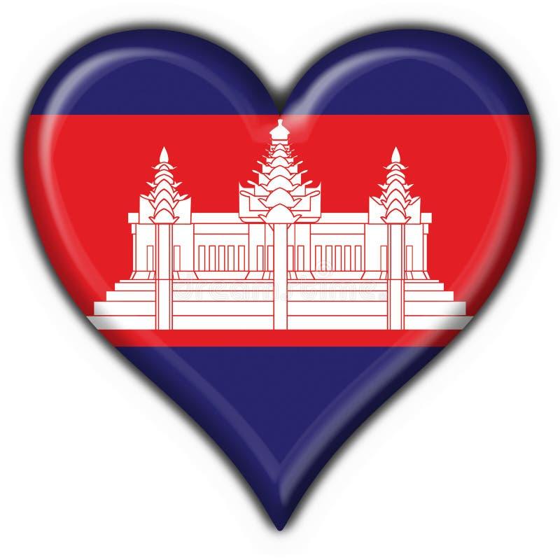 Cambodia american button heart flag vector illustration