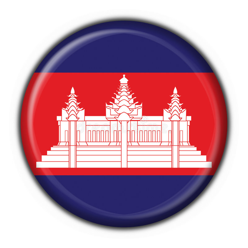 Cambodia american button round flag royalty free illustration