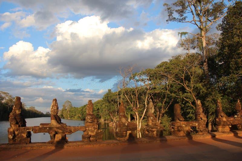 cambodia Angkor Thom City Den södra porten Siem Reap landskap Siem Reap stad royaltyfri foto