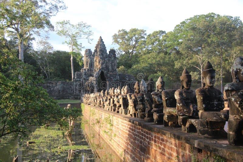 cambodia Angkor Thom City Den södra porten Siem Reap landskap Siem Reap stad arkivbilder