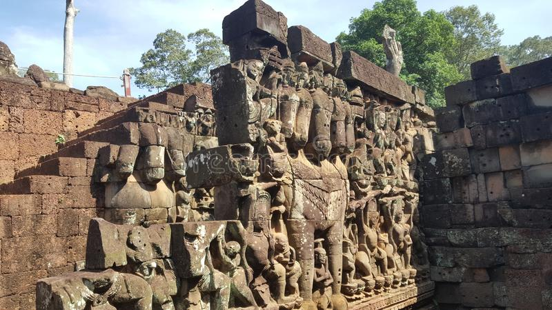 Cambodia. Angkor Thom. Terrace of the Elephants. Siem Reap city. Siem Reap province. royalty free stock images