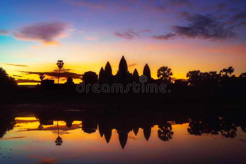 Cambodia Angkor Wat landmark with reflection in water. On sunrise royalty free stock photo