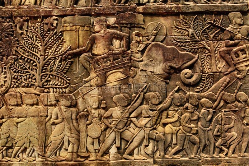 Cambodia architecture bayon khmer temple bas relief