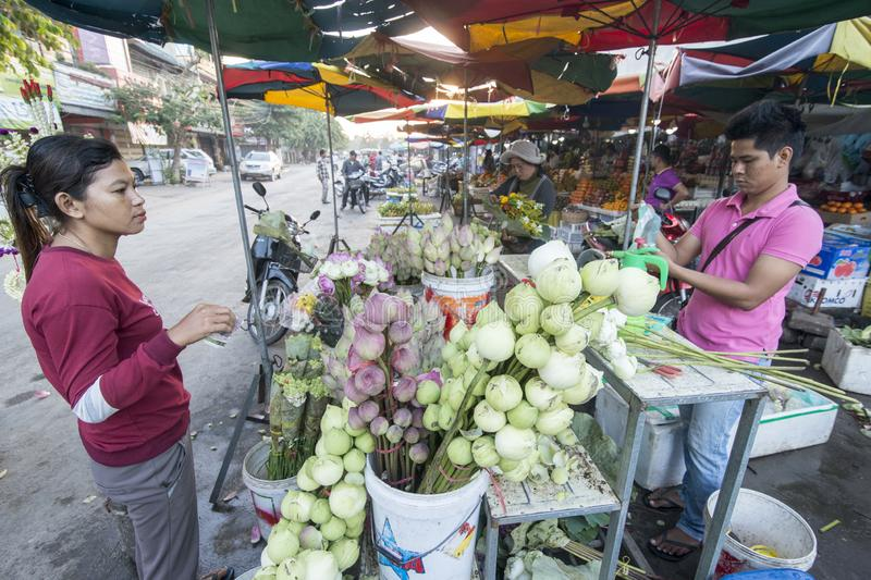 CAMBODIA BATTAMBANG PSAR NAT MARKET. Fresh flowers at the Psar Nat market in the city centre of Battambang in Cambodia.  Cambodia, Battambang, November, 2018 royalty free stock photo