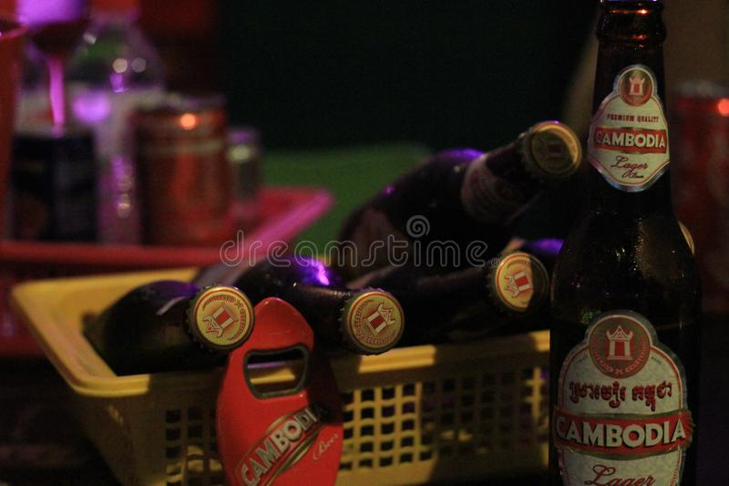 Cambodia beers. Drink with your High response stock images