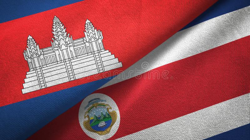 Cambodia and Costa Rica two flags textile cloth, fabric texture. Cambodia and Costa Rica flags together textile cloth, fabric texture vector illustration