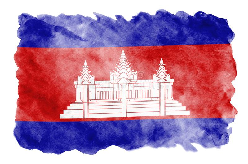 Cambodia flag is depicted in liquid watercolor style isolated on white background. Careless paint shading with image of national flag. Independence Day banner stock image