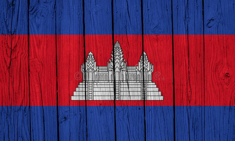 Cambodia Flag Over Wood Planks stock images