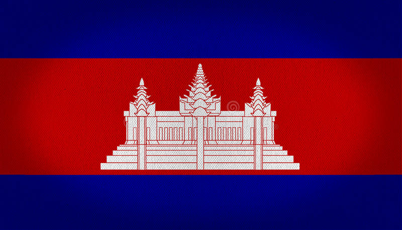 Cambodia flag. With a temple at the center of it in white over a red center line and other two in blue at the top and in the bottom, fabric texture background royalty free illustration