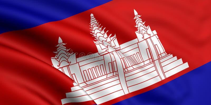 cambodia flagga royaltyfri illustrationer