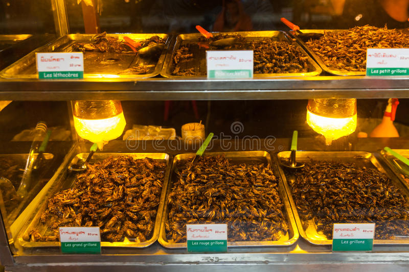 Cambodia food , Fried insects, Bugs fried on Street food royalty free stock images