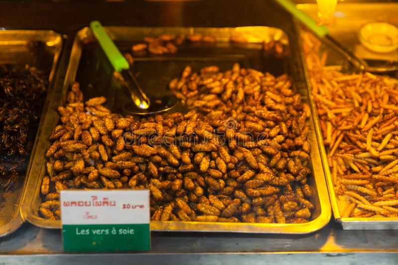 Cambodia food , Fried insects, Bugs fried on Street food stock image