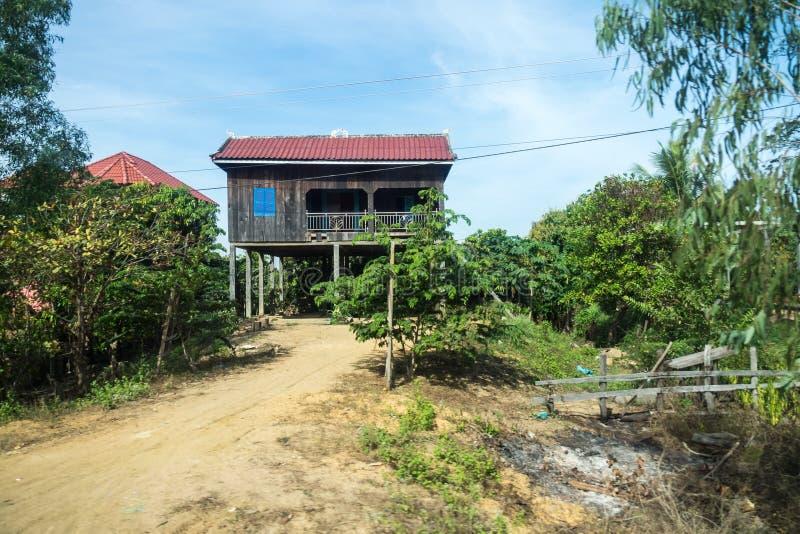cambodia Le Mekong La fronti?re avec le Laos Ville piqu?e de Treng photos stock