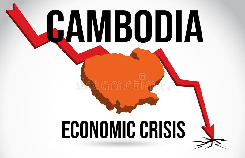 Cambodia Map Financial Crisis Economic Collapse Market Crash Global Meltdown Vector. Illustration royalty free illustration
