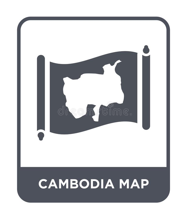 Cambodia map icon in trendy design style. cambodia map icon isolated on white background. cambodia map vector icon simple and. Modern flat symbol for web site royalty free illustration