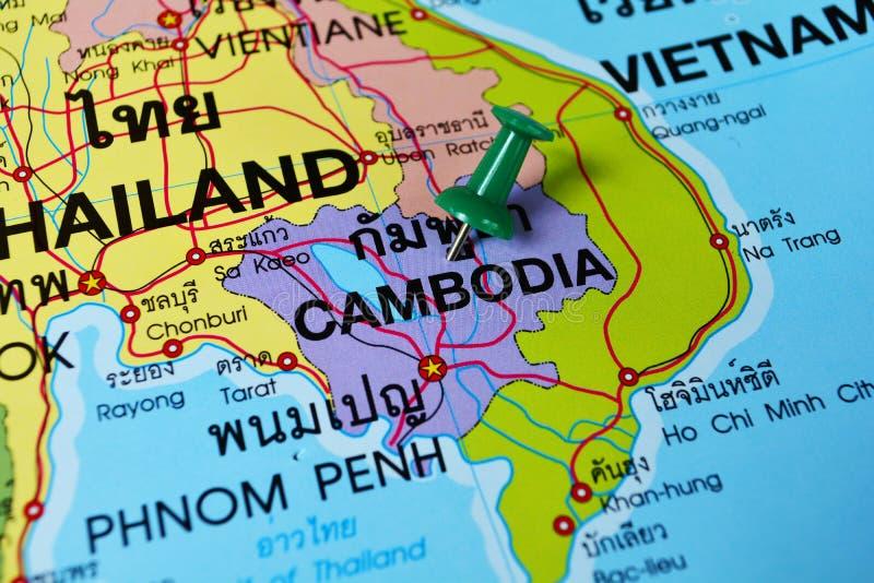 Cambodia in map. Macro shot of cambodia map with push pin royalty free stock photo