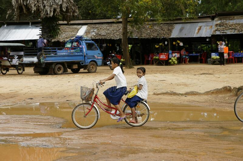 Cambodia - March 12, 2010: Daily life on the streets of Cambodia.  royalty free stock photo