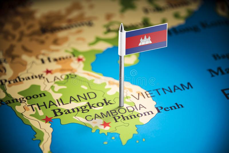 Cambodia marked with a flag on the map stock image