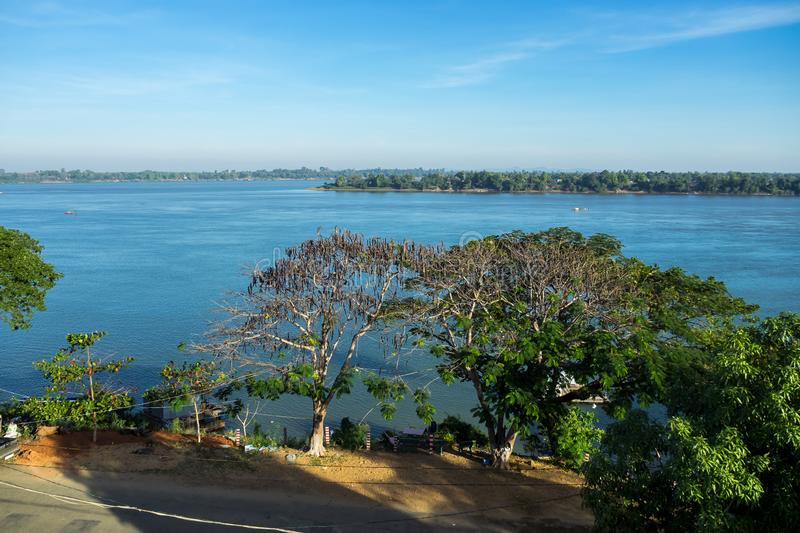 Cambodia. Mekong River.The border with Laos.Stung Treng city royalty free stock images