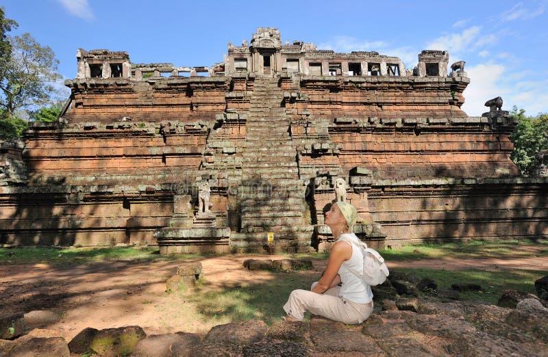Cambodia. Siem Reap. Angkor Tom. Pirâmide do Khmer fotos de stock royalty free