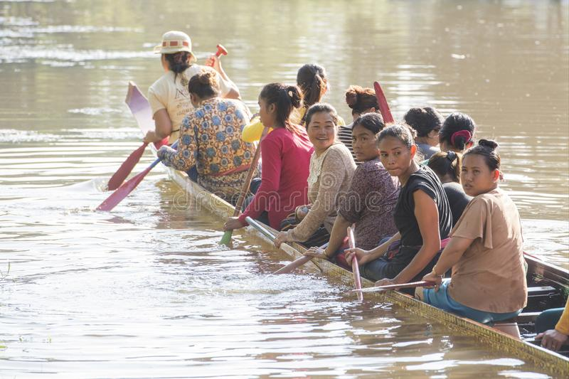 CAMBODIA SIEM REAP CITY RIVER LONGBOAT. Women at a training on a Longboat race at the Siem Reap River in the old Town in the city of Siem Reap in northwest of stock photos