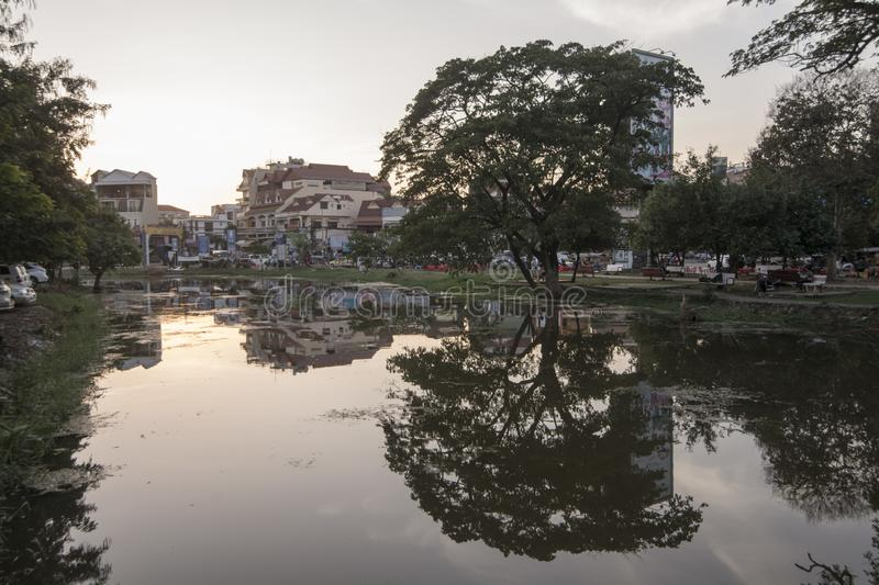 CAMBODIA SIEM REAP CITY RIVER. The Siem Reap River in the old Town in the city of Siem Reap in northwest of Cambodia.   Siem Reap, Cambodia, November 2018 royalty free stock images