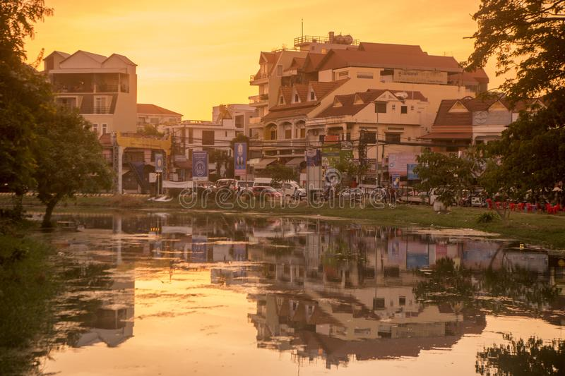 CAMBODIA SIEM REAP CITY RIVER. The Siem Reap River in the old Town in the city of Siem Reap in northwest of Cambodia.   Siem Reap, Cambodia, November 2018 stock images