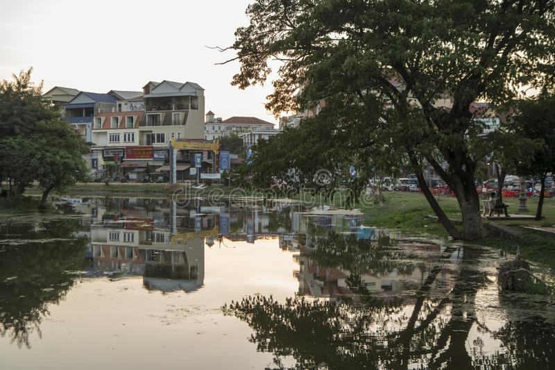 CAMBODIA SIEM REAP CITY RIVER. The Siem Reap River in the old Town in the city of Siem Reap in northwest of Cambodia.   Siem Reap, Cambodia, November 2018 royalty free stock photography