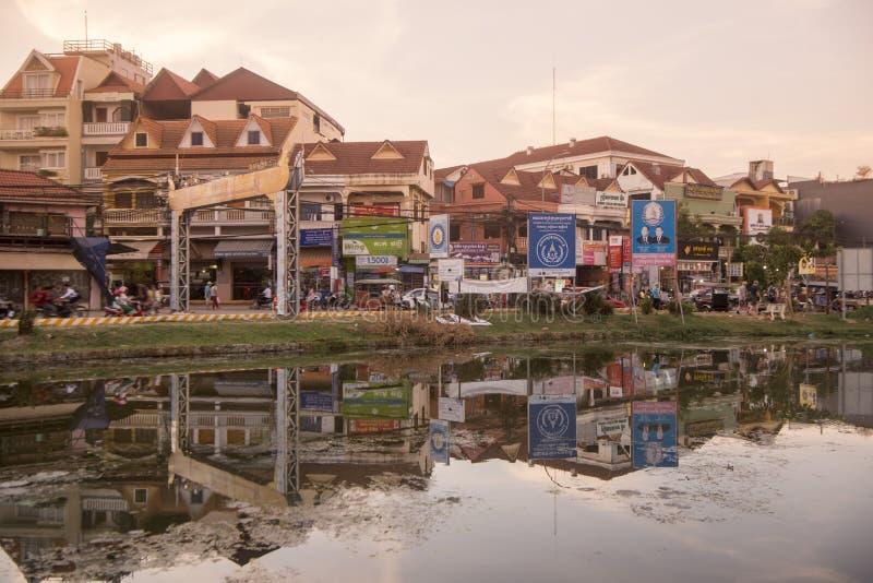CAMBODIA SIEM REAP CITY RIVER. The Siem Reap River in the old Town in the city of Siem Reap in northwest of Cambodia.   Siem Reap, Cambodia, November 2018 royalty free stock photos