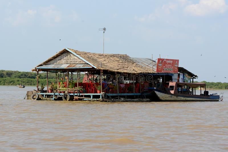 CAMBODIA SIEM REAP LAKE TONE SAP KOMPONG PLUK. A restaurant at the Lake Village Kompong Pluk at the Lake Tonle Sap near the City of Siem Riep in the west of stock photo