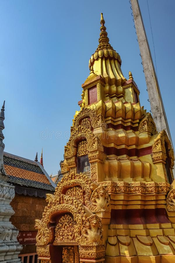 Cambodia style Pagoda in siem reap city temple. Cambodia travel concept stock images