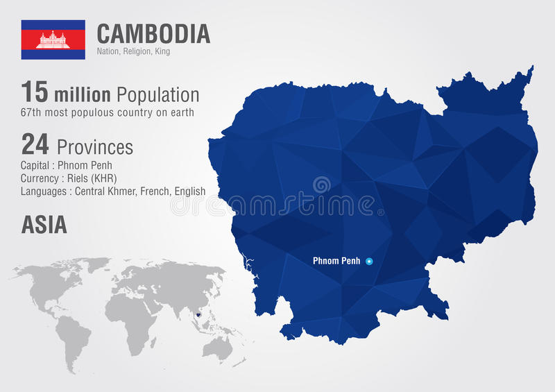 Cambodia World Map With A Pixel Diamond Texture. Stock Vector ...