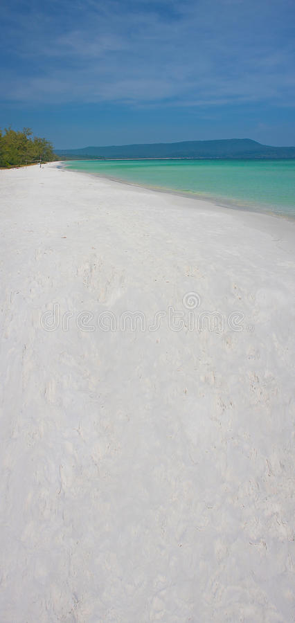 Cambodian beautiful white sand beach. And clear sea stock photos